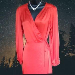 Zara Red Satin wrap around dress